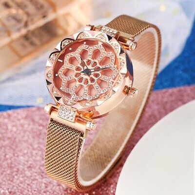 Luxury Rotatable Dial Analog Wristwatch Stainless Mesh Band Quartz Watch Gifts