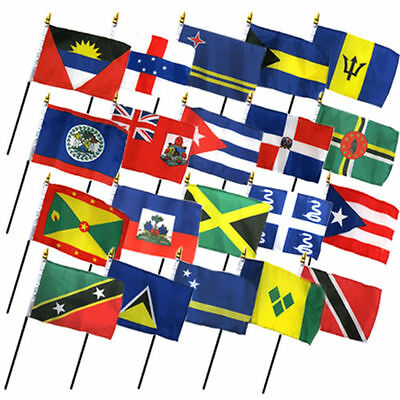 4x6 European Europe Country 20 Desk Set Table Stick Flags w// 20 Hole Base Stand