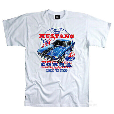 Classic Ford 68` Mustang Shelby Cobra 60s Automotive Muscle Car T-Shirt *0192 WH