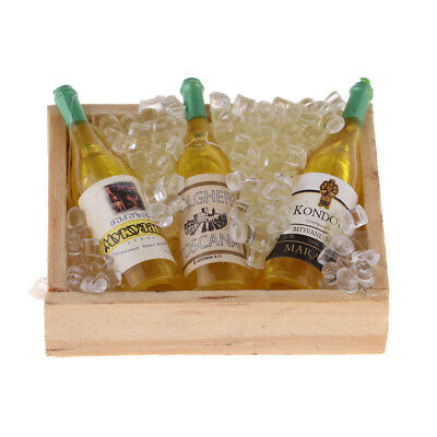 Miniature Kitchen Drink Wine Bottles Ice Cubes for 1/12 Dollhouse Decoration