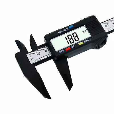 "150mm/6"" LCD Digital Electronic Carbon Fiber Vernier Caliper Gauge Micrometer"