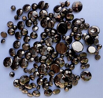 Collection of 140+ Antique French Jet Black Glass Buttons Late 19th C Mourning