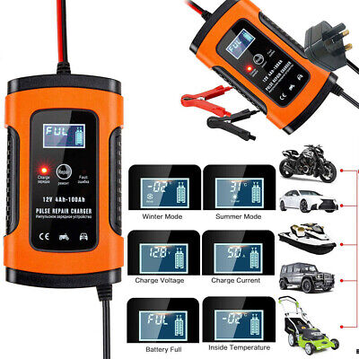 1x Car Battery Charger 12V 5A LCD Intelligent Automobile Motorcycle Pulse Repair