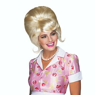 Ladies 1960'S High Beehive Blonde Wig Hollywood Pop Star Fancy Dress Accessory