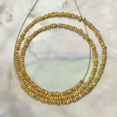 "18K Gold Vermeil over Sterling Silver 8"" Strand Thai Hill-tribe Beads 2.80 g"