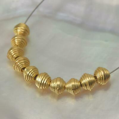 18K Gold Vermeil over Sterling Silver 10 Thai Hill-tribe Beads 2.30 g 3-Micron
