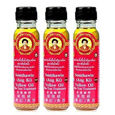 3X NATURAL MASSAGE Muscle Relief Yellow Oil THAI SOMTHAWIN