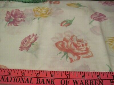 Vintage Large Pastel Floral Linen Light Weight Sewing Fabric  1.75 Yd