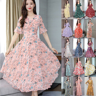 2019 Women V-Neck Floral Print Dress Ladies Boho Beach Summer Long/Short Dresses