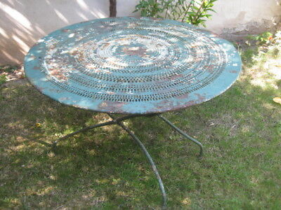 ANCIENNE TABLE DE Jardin Metal Perforee 1940/50