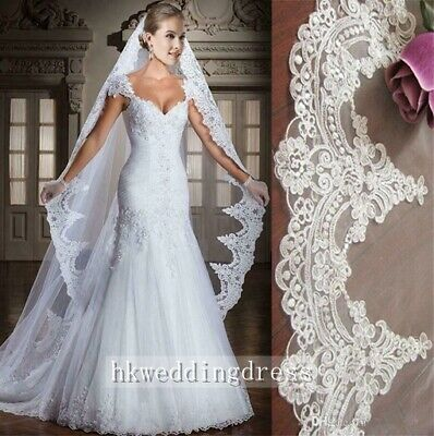 2020 Ivory/White Lace Edge 3M Length Cathedral Bridal Wedding Veil With Comb
