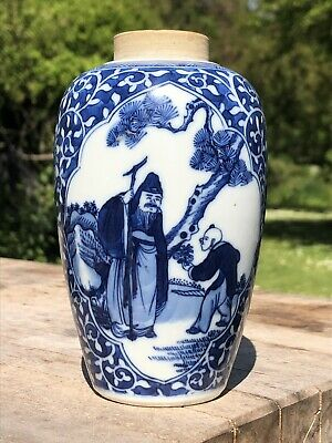 Chinese Qing Dynasty Blue And White Porcelain Jar Vase Immortal Double Ring Mark