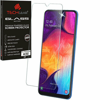 Genuine TECHGEAR TEMPERED GLASS Screen Protector for Samsung Galaxy A50