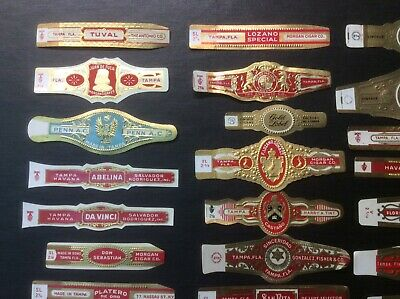 Lot of 33 VINTAGE 1950s New Old Stock CIGAR BANDS All TAMPA FLORIDA Very Nice
