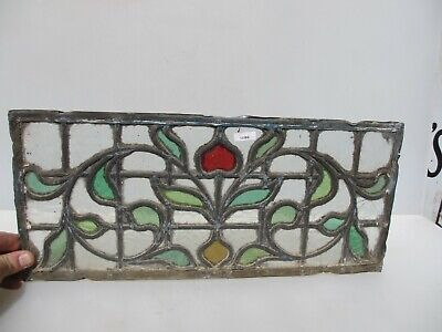 Antique Stained Glass Window Panel Old Victorian Leaded Art Nouveau CRACKS 18x8""