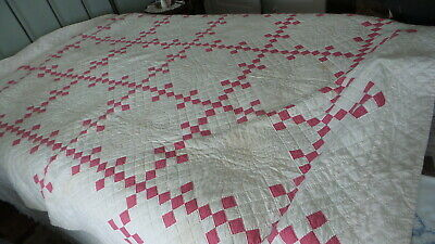 "Antique Vintage QUILT, RED & WHITE, Hand-Quilted, Postage Stamp Squares,76""x94"""