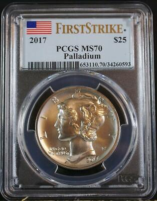 2017 $25 1 oz .9995 First Year Mint State Palladium Eagle PCGS MS70 First Strike