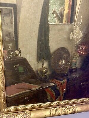Antique Large Oil Painting By Sydney Prior Hall