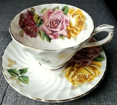 Aynsley cup and  saucer Yellow Large Cabbage rose