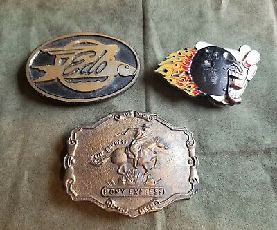 vintage lot of old belt buckles Bergamot Dyna