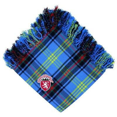 "Scottish Kilt Fly Plaid Bell Tartan Acrylic Wool Purled Fringe 48""X48"" Highland"