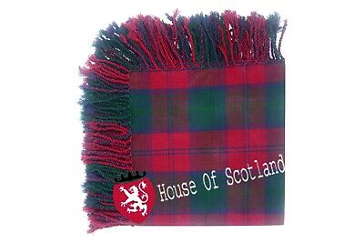 "HS Scottish Kilt Fly Plaid Lindsay Tartan Acrylic Wool Purled Fringe 48"" X 48"""