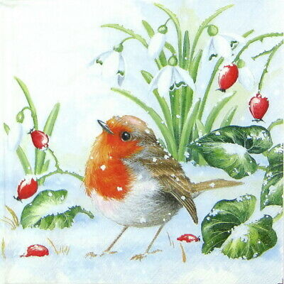 4x Paper Napkins for Decoupage Decopatch - Winter Robin