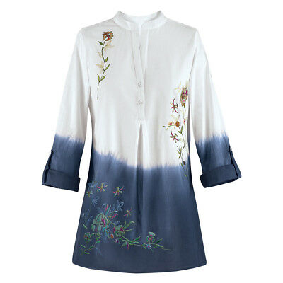 8ecba0e1 3/4 Sleeve Women Embroidered Floral Dip Dye Shirt Blouse Tops Fashion New  Bty15