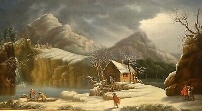Large 18th Century Frozen Winter Italian Landscape Francesco FOSCHI (1710-1780)
