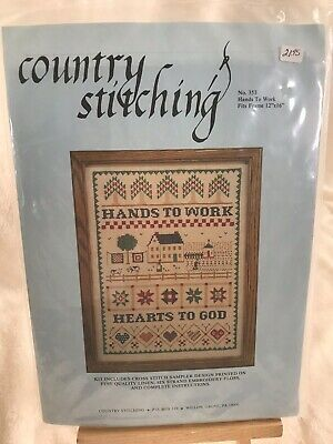Cross Stitch Printed Sampler Kit Hands to Work Hearts to God by Country Stitchin