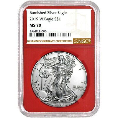 2019-W Burnished $1 American Silver Eagle NGC MS70 Brown Label Red Core