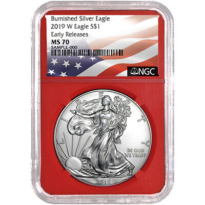 2019-W Burnished $1 American Silver Eagle NGC MS70 Flag ER Label Red Core