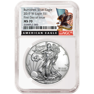 2019-W Burnished $1 American Silver Eagle NGC MS70 FDI Black Label
