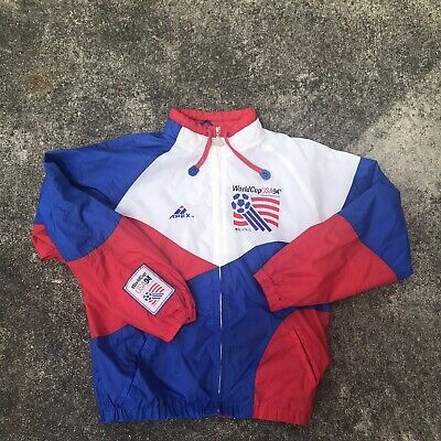 11c1b9b08 Vintage Apex 1994 World Cup USA Soccer Windbreaker Jacket mens L Apex 94  Futbol