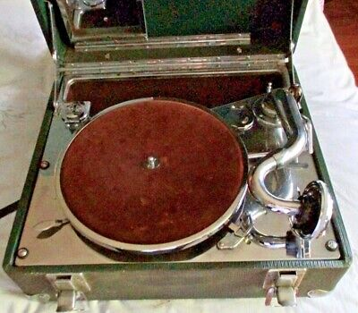 Antique Portable Wind Up Record Player / Phonograph in Case, ca. 1920–30