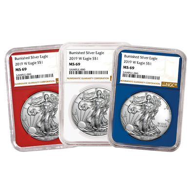 2019-W Burnished $1 American Silver Eagle 3pc. Set NGC MS69 Brown Label Red Whit