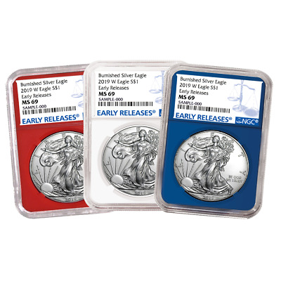 2019-W Burnished $1 American Silver Eagle 3pc. Set NGC MS69 Blue ER Label Red Wh