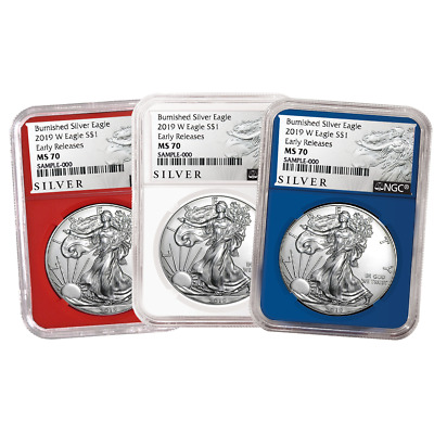2019-W Burnished $1 American Silver Eagle 3pc. Set NGC MS70 ALS ER Label Red Whi