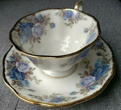 Royal Albert Moonlight Rose  Blue Florals Roses 1987 Tea Cup And Saucer