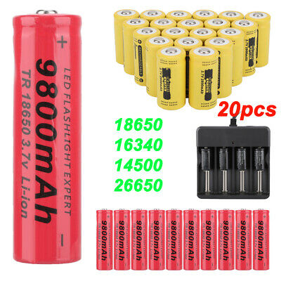 20pcs Rechargeable 9900mAh Li-ion Batteries Battery Charger 2X 16340 18650 14500