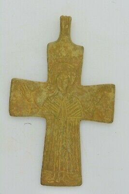 Byzantine bronze cross Virgin Mary raised hands 10th century AD