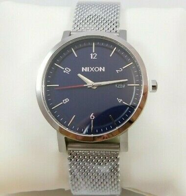 $200 NWT NIXON  Men's Navy Rollo 38MM Stainless Steel Mesh Watch - A1087 307-00