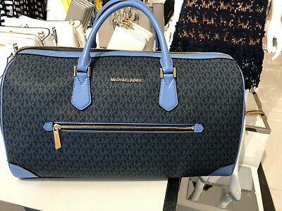 918faa920bce67 NWT Michael Kors MK Signature Travel Duffle Bag In Black/Vanilla/FrenchBlue  2019