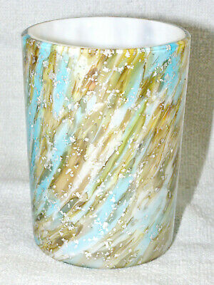Scarce Antique Blue & Brown Vasa Murrhina Cased Glass Tumbler