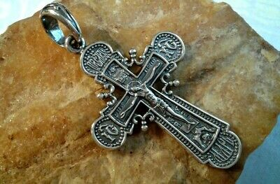 "STERLING SILVER ""925"" ORTHODOX ""SKULL"" ORNATE CRUCIFIX with ""REPENTANT"" PSALM 51"