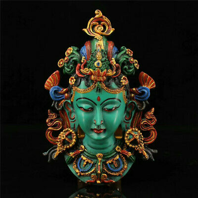 Collect old Nepal lacquerware Hand painted Green Tara Mask Head portrait statue