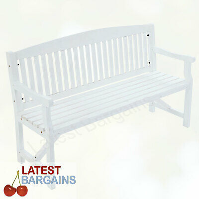 3 Seater Wooden Garden Park Bench Seat Timber Outdoor Furniture Chair White