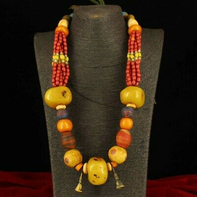 Collect old Tibet Tibetan style Beeswax Red coral beads Multi-treasure Necklace