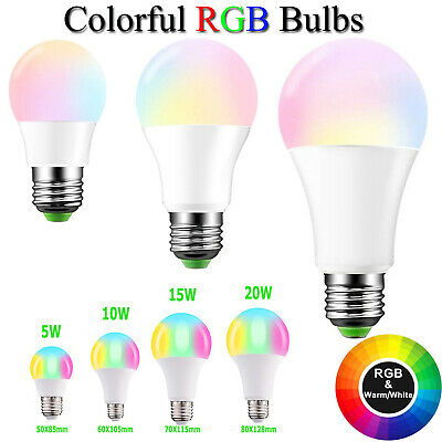 E27 3W/5W/10W/15W RGBW Color Change LED Light Dimmable Bulb + Remote Controller