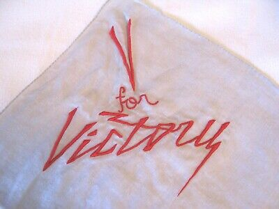 Vintage V for VICTORY Embroidered HANKIE Handkerchief~WWII Era